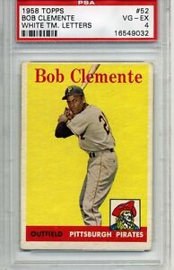 1958 Topps Roberto Clemente #52 - Graded PSA 4 - VG-EX - Pittsburgh Pirates