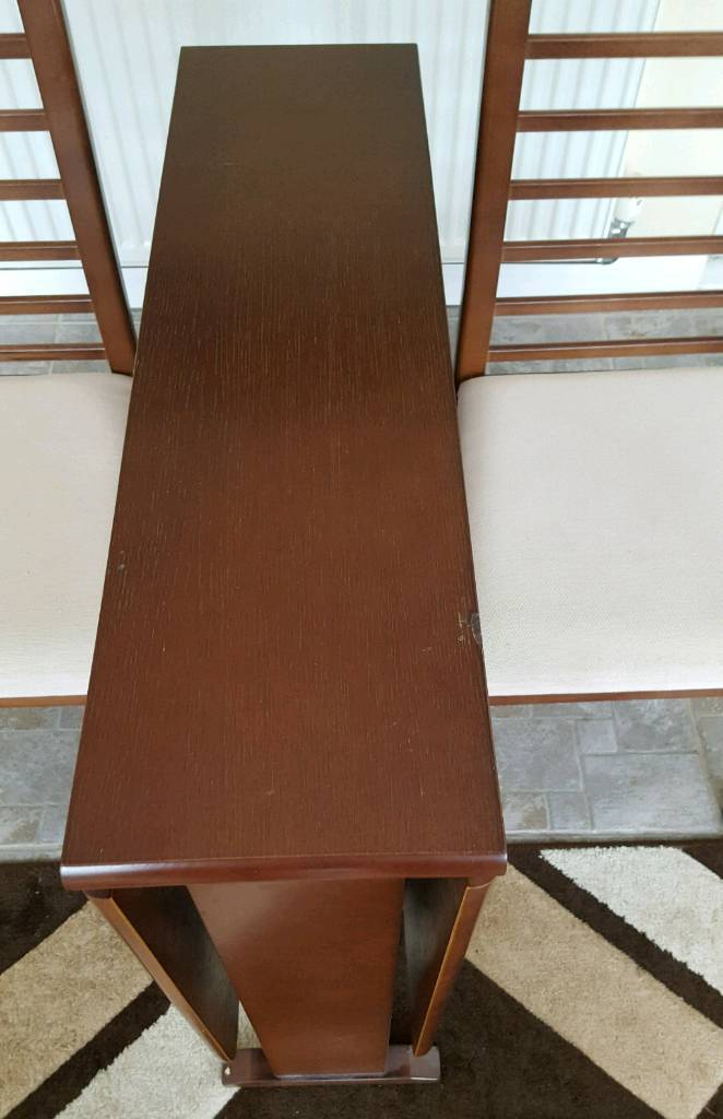 Dark Wood Folding Dining Table With 4 Chairs