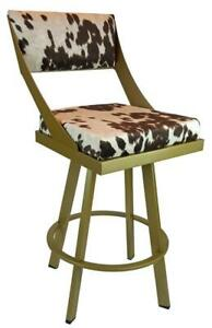 4 - Swivel Counter Stool in Gold Metal Frame n Brown Cow Fabric