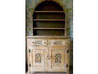 mid century WEBBER SOLID OAK DRESSER - old charm style 2 drawer cupboards & open plate rack M'bro