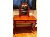 Two drawer wooden desk / dressing table with matching wooden mirror