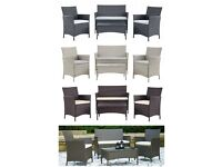BRAND NEW 4pc Garden Patio Rattan Sets - Sofa Chairs & Glass Table - Stunning colours to choose