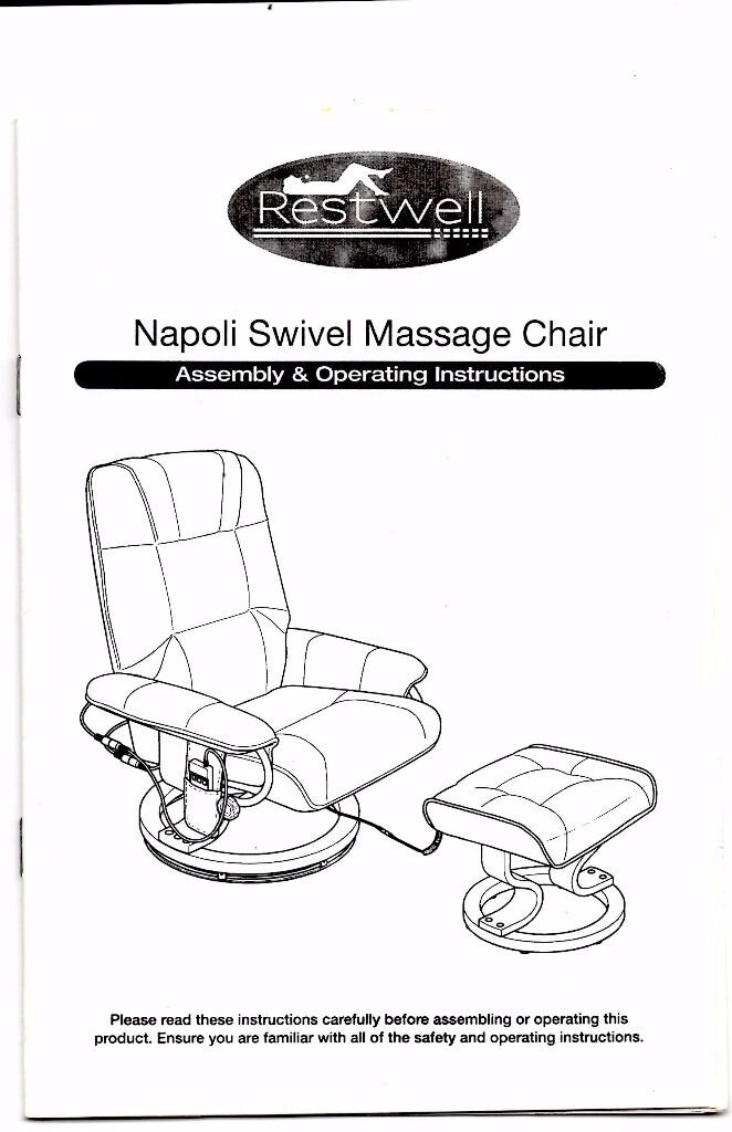 Restwell Napoli Swivel Massage Chair And Footstool Working Order