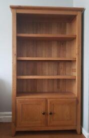 M&S Wooden Bookshelf with Storage Cupboard - light wood