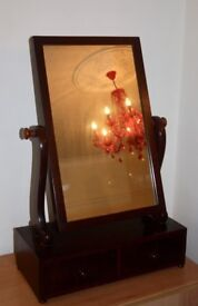 Antique Victorian Mahogany Toilet Mirror