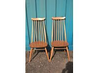 A Pair of Blonde Goldsmiths Ercol Dining Chairs