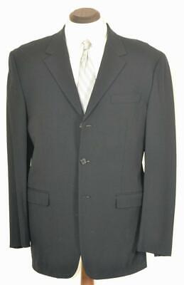 Worn? $1895 PRADA Flat Front Button Fly Solid Black SUIT 42 L Slim Fit 44 L Button Fly Suit