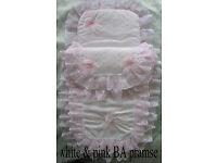 New Handmade Babys 2 Piece Pramset Pram set Quilt Blanket