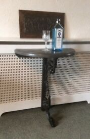Half Round Bar / Side Table With Cast Iron Leg