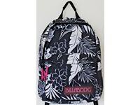 """18"""" Women's Billabong Rucksack / Backpack - Black and White Flower Print"""