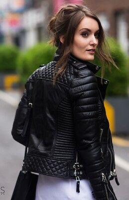 NEW BEST WOMEN STYLISH GENUINE LAMBSKIN MOTORCYCLE BIKER LEATHER JACKET