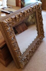 antique Victorian heavily carved mirror