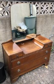 Vintage dressing table, solid oak. Free to collect in Weston-super-Mare