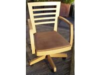 REDUCED Office Chair, swivel, raise/lower, John Lewis, light oak
