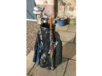Full Golf Club Set with Bag, Trolley, Balls, Umbrella, Tees, Towel all in Excellent Condition