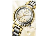 Citizen Sunrise Eco-Drive Ladies 30mm Diamond Dial With Gold & Silver Bracelet Watch - EM0324-58D