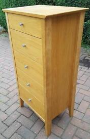 Tall boy oak and oak veneer with rolling drawers