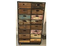 Industrial Chest of Drawers - distressed wood with cast iron frame