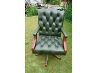 A Gainsborough style leather Chesterfield captains chair in excellent condition throughout