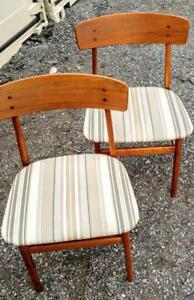 Rare Set of 4 Danish Teak Dining Chairs Mid-Century Schionning & Elgaard Smooth Solid Wood Made in Denmark MCM Oakville