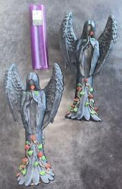 Pair of Dark Angel Gothic Candlesticks By Nemesis Now year 2005