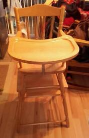 Pine High Chair/Table and Chair