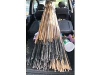 Bamboo bean sticks and gardening tools