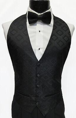 5-button Weste (Mens Black 5 Button Front Openback Tuxedo Vest w Bow Tie Waiter Costume Cadet)