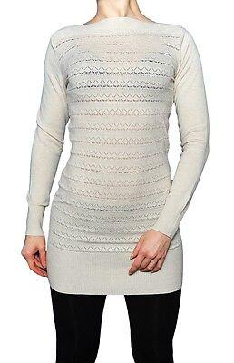 Elegante weiße Tunika für Damen Größe L lange Pullover zu Leggings