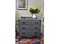 Shabby Chic Oak Chest of Drawers Painted Farrow and Ball