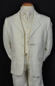 BOYS-Suits-5PC-CREAM-SUITS-FORMAL-WEDDING-PAGE-BOY