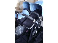Ice Blue Bugaboo Donkey Duo with Extendable Hoods REDUCED SALE