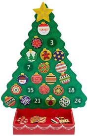Melissa and Doug wooden Christmas tree advent calendar with magnetic baubles and star