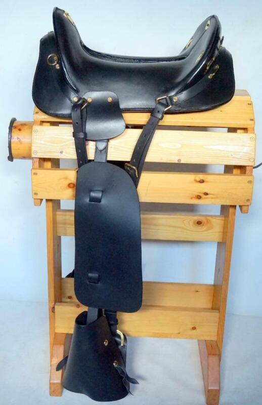Adult McClellan C War Replica Military Re-enactment Cavalry Saddle BLACK 17 New
