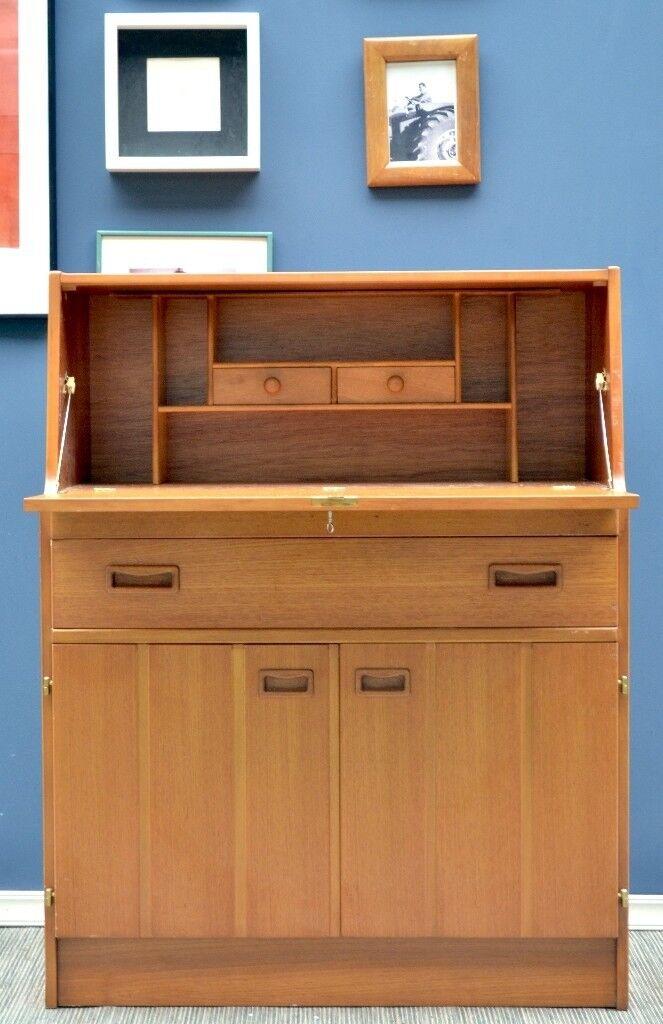Vintage Midcentury Teak Bureau Drinks Cabinet Desk Delivery Modern Retro