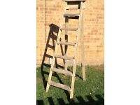TALL VINTAGE WOODEN SIX TREAD FOLDING STEP LADDERS