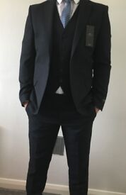 Moss London Navy Men's 3 Piece Skinny Fit Suit Brand New With Tags