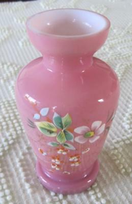 "Bristol Glass Late 19th Century Pink Glass 6"" Vase with Floral Botanicals"