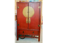 Chinese cabinet Red lacquered Elmwood with 2 drawers NW3 London