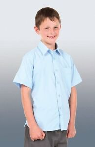 Kids-Poplin-School-Shirt-Long-Short-Sleeve-Boys-Girls-Unisex-Top-Uniform-New