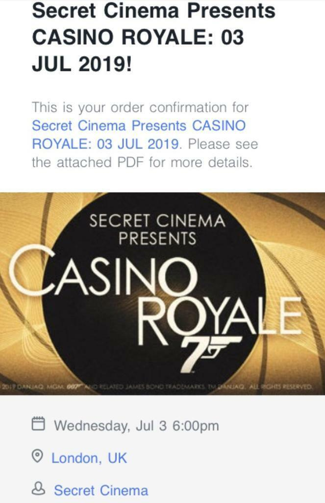 competitive price c4a3a 5faa5 2 tickets Secret Cinema - Casino Royale - 3rd July 2019. Holborn ...