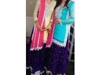 Wedding outfit, Asian lengha suit, dress blue
