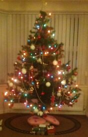 Artificial Christmas tree.