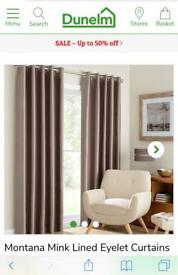 Dunelm Faux Silk Fully Lined Curtains 168 x 137