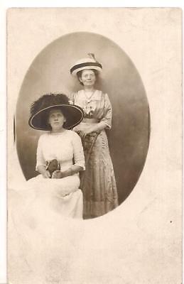 ID'd Edwardian Fashion Women Smith/Meek-Rea Fancy Hats 1900s Real Photo Postcard