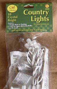 Light String White Cord  ~ Clear lights  ~ Light Strand  ~ 10 count