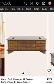 Garrat Dark Chestnut 12 Drawer Coffee Table by Laura Ashley