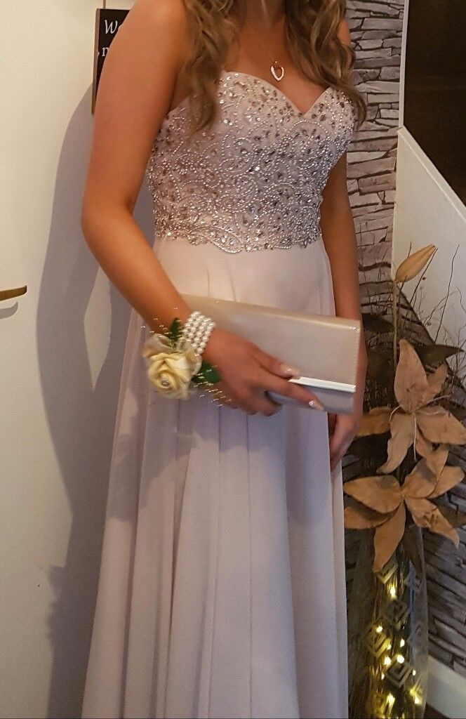Champagne prom dress with crystal detail to top