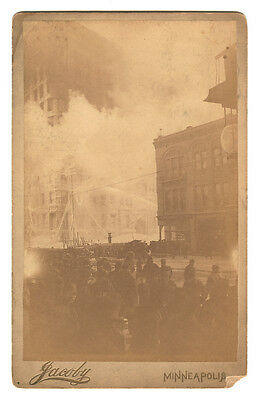 1891 Cabinet Card Lumber Exchange Building Fire, Minneapolis, Minnesota, Jacoby for sale  Ithaca