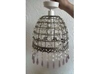 METAL CHANDELIER WITH CRYSTAL STYLE DROPPERS, FULLY WIRED, CEILING ROSE